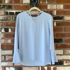 🆕Baby Blue blouse with white pearls 💙